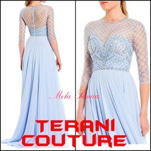 TERANI COUTURE stunning light blue dress gown